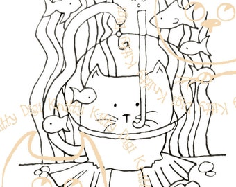 Digi Stamp Instant Download. Deep Sea Diver - Knitty Kitty Digis No. 4.