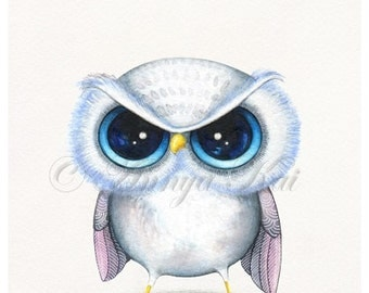 Funny Angry Bird - Cute Animal with Attitude - Kawaii Baby Bird - Painting Print by Annya Kai
