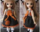 LittleFee YoSD Tiny BJD Halloween Jack O Lantern Babydoll Dress OOAK by Tickled Pink by Julie