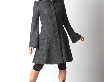 LAST ONE Dark grey Steampunk Coat, Womens grey winter coat with Goblin Hood and tall collar, Dark grey hooded coat - Military fashion szUK10