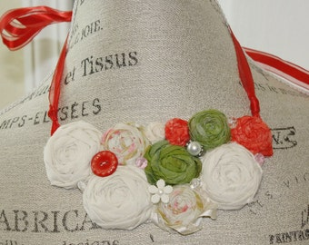 Fabric Rosette Bib Necklace Italian Inspired Colors Statement Piece