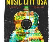 MUSIC CITY USA - Nashville City Print Screen Print by Print Mafia