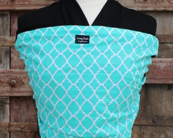 SUPER LIGHTWEIGHT ORGANIC BAMBOo Baby Wrap/Sling-Turquoise Lattice On Black-One Size Fits All-Newborn to Toddler-DvD  Included-Ready To Ship