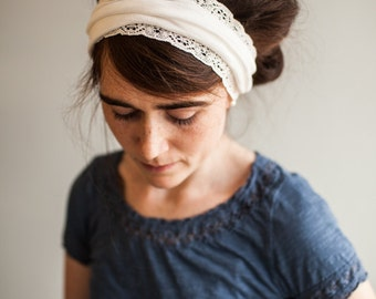 Garlands of Grace Ivory Vintage Stretch Headband headwrap headcovering