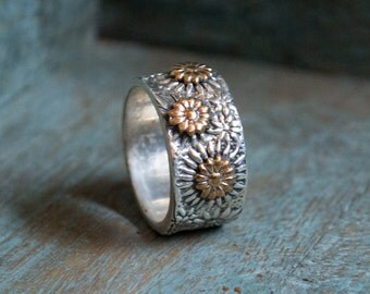 floral band, nature ring, mixed metals ring, wide silver band, vine ring, Silver ring, silver gold ring, gold flowers ring - Glam R2077G