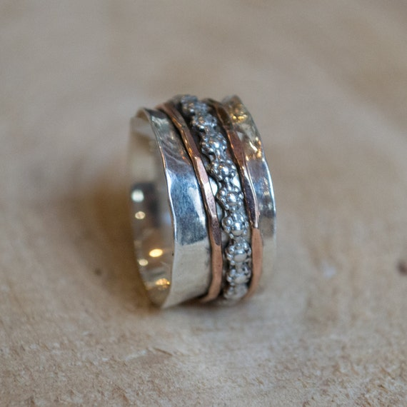 unique wedding ring floral band stacking bands spinners