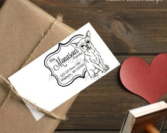 0383 JLMould Hand Drawn chihuahua rescue personalized Custom Rubber Stamp Red Rubber Wood Block with or without Handle