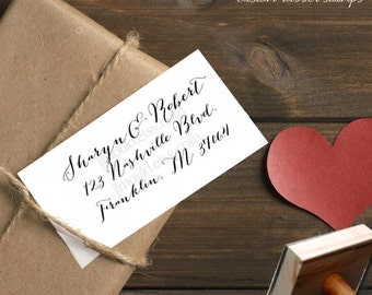0064 NEW Handwriting Calligraphy Script Family Last Name Custom Rubber Stamp Personalized Stationery Wedding Return Address