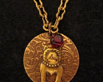"""PITBULL JEWELRY NECKLACE. Pit Bull Jewelry. """"I Heart"""" My Dog. Engravable Charm Pendant. Suitable for Engraving.Gifts for Women. Gold Tone"""