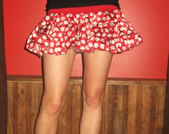 Silky Red dice Skirt Small/Medium by Vicmes Clothing