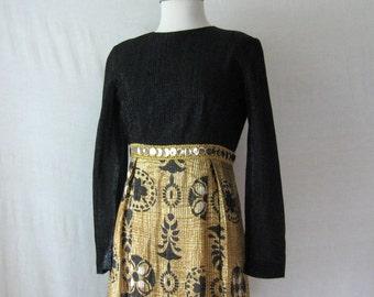 Lurex Dress 60s Maxi Dress Black + Gold Long Dress Metallic Dress