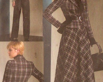 Chic suit pattern office or evening jacket skirt pants sewing pattern Vogue 1132 UNCUT Sz 8 to 14