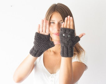Owl fingerless gloves dark grey wrist warmers hand warmers women's gloves half finger gloves wrist gloves texting gloves
