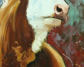 Cow painting 1008 12x24 inch animal original oil painting by Roz