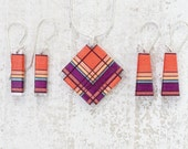 Coral Orange Thread Wrapped Fiber Jewelry with Rose Fuchsia and Metallic Blue accents