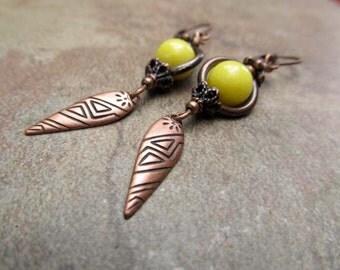 rustic Yellow earrings copper dangle earrings boho earrings bohemian jewelry