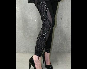 Black Mesh Diamond Lace-Up Leggings XS S M L XL 2xl 3xl plus size punk goth pants Corset Lacing Grommet Eyelet Stretch lace trim