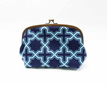 Cosmetic bag, navy blue and turquoise geometric design, cotton pouch