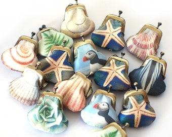 Tiny purse, small pocket pouch, printed silk purse, seashell, feather, fern, puffin, starfish