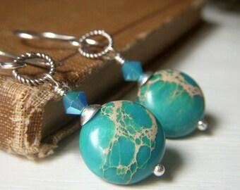 Sea Sediment Earrings Sterling Silver Dangles, Variscite Jasper Teal Blue Handmade Gemstone Earrings, Coin Gemstone Earrings, Teal Dangle
