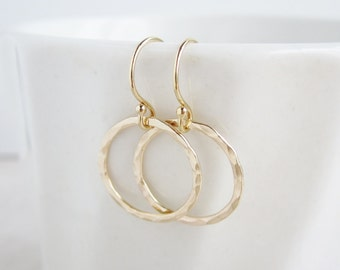 Gold earrings, gold hoop earrings, eternity earrings, hammered or smooth circle earrings, dainty gold hoops, everyday earrings, gold circles