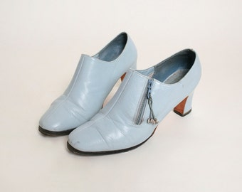 Vintage 1960s Ankle Boots - Norman Kaplan Pale Powder Blue Booties - Size US 8