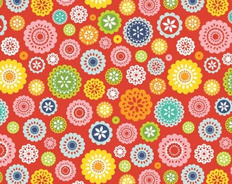 SALE fabric, 7 dollars per yard, Floral fabric, Red fabric, Lazy Day Fabric by Riley Blake- Lazy Floral in Red- Buy More and Save