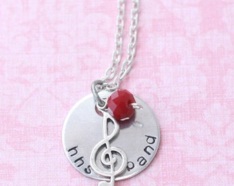 Custom Hand Stamped Marching Band / Chorus Necklace 1inch