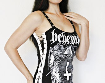 Behemoth Satanist shirt black metal tank lace up top alternative clothing apparel reconstructed rocker clothes altered band tee t-shirt