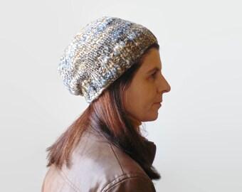 Marl Gray Beige Wool Beanie Hat Knit, Chunky Winter Slouchy Womens, Bobble Hat, Cute Beanie, Chunky Beanie, Beanie Knitted, Hand Knitted Hat