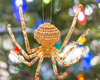 Gold Beaded Spider Ornament - Includes the Legend of the Christmas Spider Story