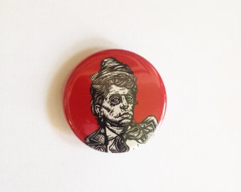 Emma Goldman Pinback Button, Anarchist, Punk Button, Anarchy Button - Emma Goldman Linocut Art Button by Horse and Hare