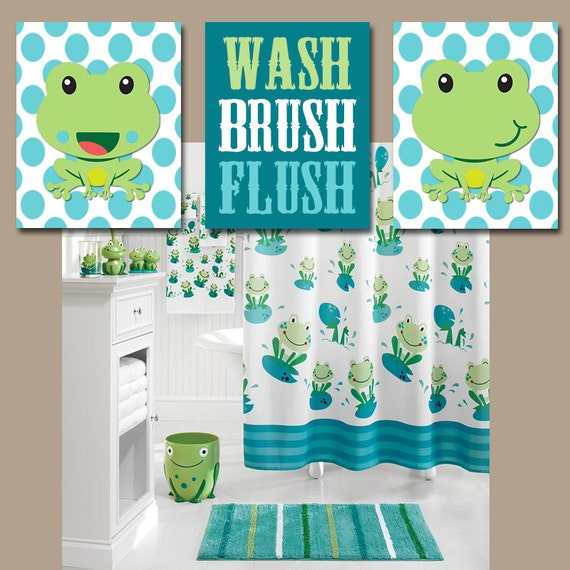 Frog bathroom wall art canvas or prints frogs child by for Frog bathroom ideas