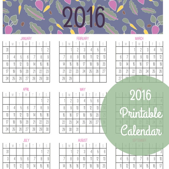 Items similar to 2016 Year At A Glance Calendar - PDF Printable ...