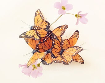 Butterfly hair comb, whimsical hair comb accessory, monarch butterfly clip, unique bridal head piece, woodland wedding - COCOON