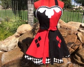 Harley Quinn inspired Sassy Apron with Petticoat, Cosplay, Harley Quinn Pin Up, Womens Plus Sizes, Villain Costume