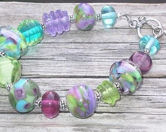 Handmade Glass Lampwork Bead Bracelet - Summer Fiesta