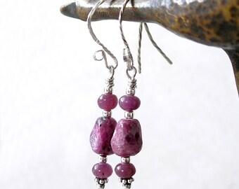 Genuine Ruby Earrings- July Birthstone Modern Boho Sterling Silver Gemstone Drop Earrings For Women