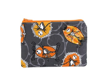 Jack Skellington Pouch / Nightmare Before Christmas Bag / Small Make Up Zipper Wallet