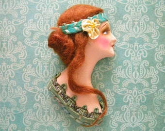 1920's Chalkware Bust of Beautiful Flapper Woman with Red Mohair Wig