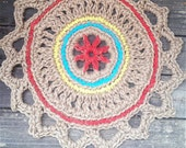 """Jute Cord Round Crochet Rug Red, Turquoise, Yellow 28"""" READY to SHIP"""