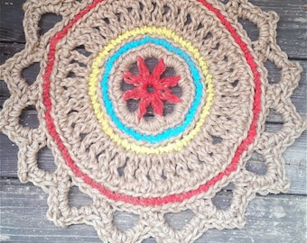 "Jute Cord Round Crochet Rug Red, Turquoise, Yellow 28"" READY to SHIP"