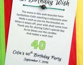 A Birthday Wish - Wish Bracelet with a Bead - Party Favor Custom Made for You