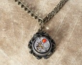 Steampunk Oriental Jewellery -  Pendant - Dragon and Antique Watch Movement with fire opal swarovski crystal