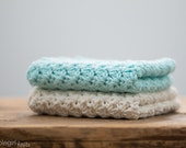 Robin's Egg Blue Cream Dishcloths, Robin's Egg Blue Cream Cotton Washcloths, Robin's Egg Blue Cream Facecloths