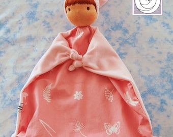 Baby Blanket Doll , All Natural Materials, Pink