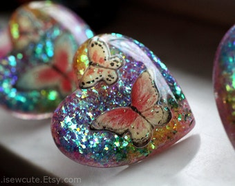 Statement Ring, Big Huge Chunky Ring, Glitter Ring, Resin Ring, Butterfly Ring, Rainbow Resin Jewelry, Butterfly Ring by isewcute
