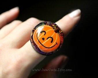 Halloween Jewelry, Ring, Novelty Pumpkin Ring, Halloween Spooky Trick or Treat Ring, Giant Statement Ring, Orange Glitter Jewelry, isewcute