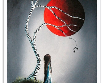 surreal prints, surreal art prints, signed art, giclee, little girl, red moon, standing alone, dreamy, dreamscapes, erback, zebra tree, 8x10