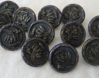 Set of 12 ANTIQUE Wheat Bunch Blue Tint Metal BUTTONS